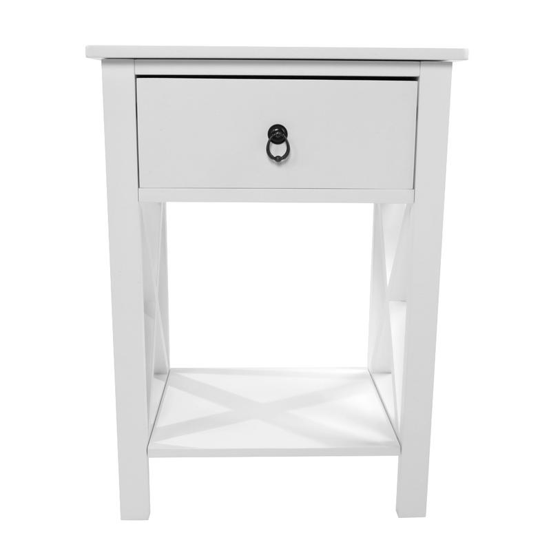 Side Intersection Style Bedside Table Coffee Table with Two layer Drawer White