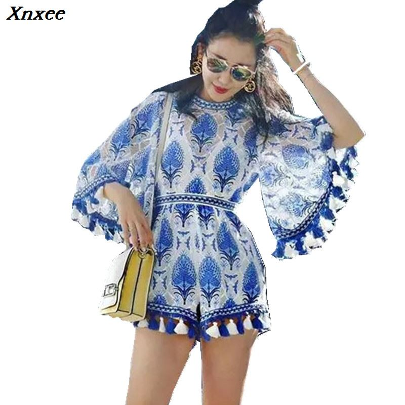 Xnxee 2020 Boho Blue White Embroidery Elegant Jumpsuit Romper Summer Sexy Flare Sleeve Women Playsuit Beach Tassels Overalls