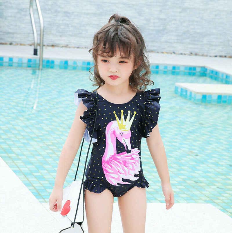 2019 Baru Musim Panas Anak Gadis Flamingo Baju Renang Poliester Tanpa Lengan Dot Baju Renang Satu Buah Baju untuk 6M-5Y