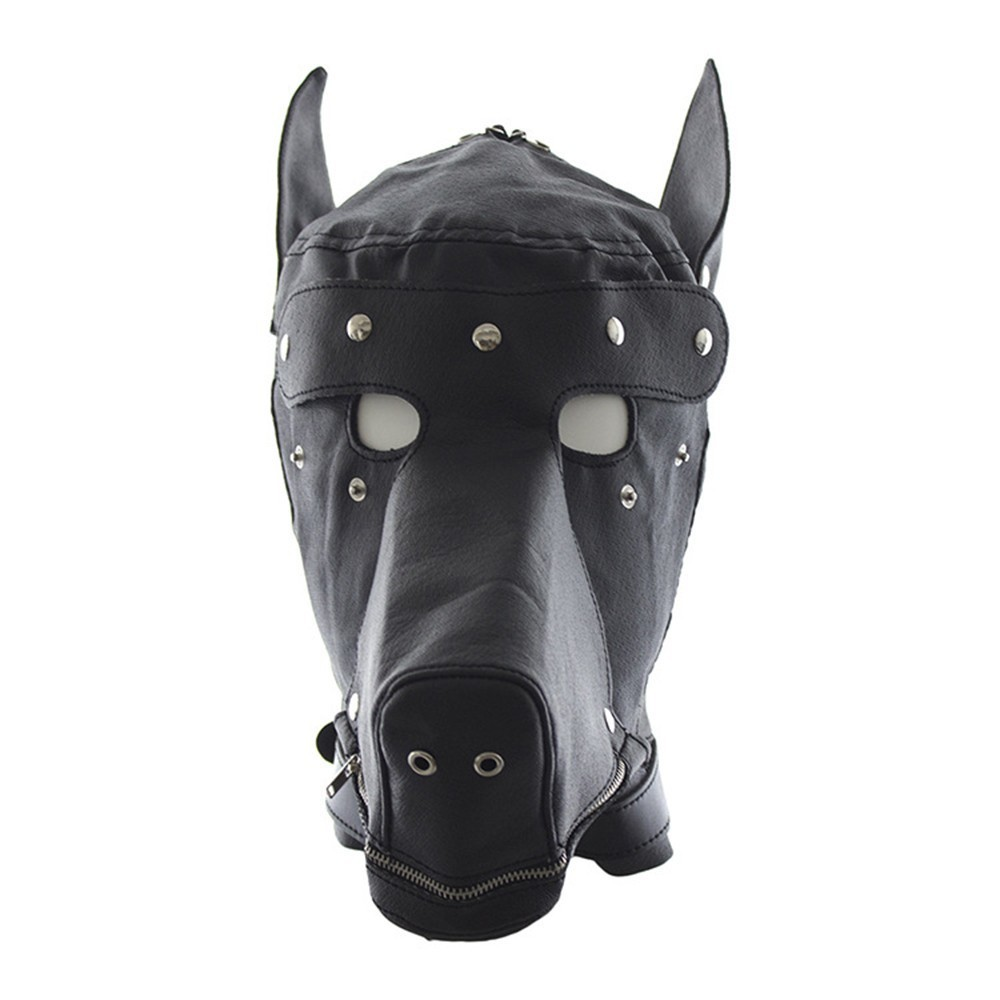 Sexy Pu Dog Slave Open Mouth Head Hood Head Bondage Fully Enclosed Fun Headgear Masks Adult Sex Game For Couples Sex Product