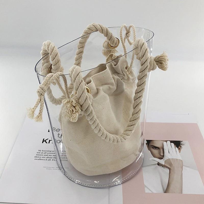 Women Handbags Sac Transparent Femme Pvc Jelly Bucket Bag Women Beach Bags Sac A Main  Cotton Rope Composite Bag Bolsa Feminina
