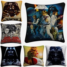 Vintage Darth Vader Chewbacca Soft Cotton Linen Cushion Covers 45x45cm Vintage Pillowcase For Sofa Home Decoration Almofada цены