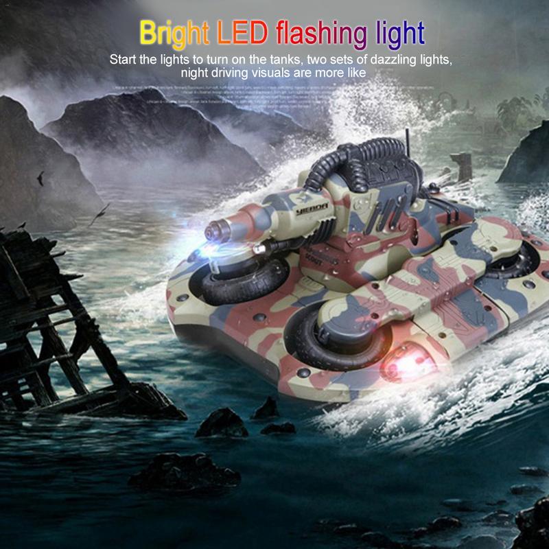 RC tanque anfibio Radio Control Rc Kit tierra agua robótica Control remoto tanque juguete para niños modelo Rc plástico militar batalla de juguete - 2