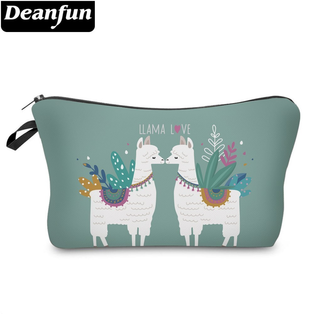 Deanfun Waterproof Makeup Bag Printing Llama Love Cosmetic Bags Travel Cosmetic Pouchs Organizer Storage Dropshipping 51434