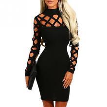 ee705f092a Kobiety sukienka Hollow Out otwory z golfem Bodycon płaszcza Mini sukienka  damska Sexy sukienki Party Night