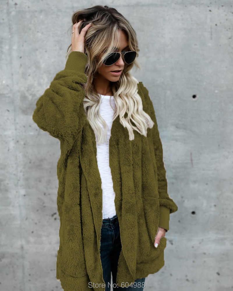 Yeni Sonbahar Kış Kadın Slim Fit Faux Kürk Ceket Hoodie Uzun Kollu Kalınlaşmış Gevşek Kürk Hırka Sıcak Ceket Dış Giyim
