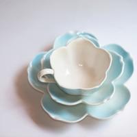 Japanese glaze color ceramic plate coffee cup dish sauce dish ceramic three piece, European Cup, real English afternoon tea