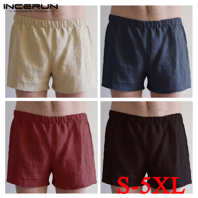 INCERUN Men Boxers Cotton Shorts Solid Color Sleepwear Soft Comfy Male Underwear Trunks Homewear Leisure Men Casual Boxers S-5XL