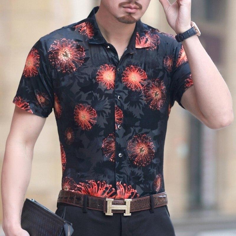 Рубашка Camisa Hombre Гавайский мужские рубашки Camicia Uomo 2019 Летние черные бархатные рубашки уличная рубашка с цветами прозрачный короткий рукав