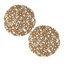 2 шт круглые выдалбливают войлочные подставки Нескользящие Термостойкие чашки коврики колодки(кофе