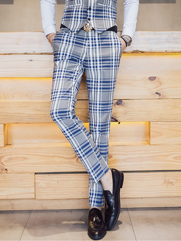 Британский стиль Для мужчин платье костюмы Брюки Slim Fit Для мужчин s Мода Плед Повседневное Бизнес костюм брюки Для мужчин штаны в клетку Для ...