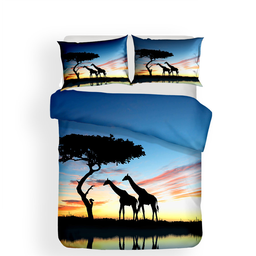 Image 2 - Bedding Set 3D Printed Duvet Cover Bed Set Giraffe Home Textiles for Adults Lifelike Bedclothes with Pillowcase #CJL05-in Bedding Sets from Home & Garden