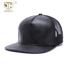JOEJERRY Leather baseball caps Men Women Black Cap Rap Mesh Snapback Flat 5 Panel Hat Spring Summer