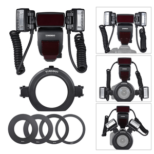 Image 5 - Yongnuo YN24EX E TTL makro flaş Speedlite Canon için EOS 1Dx 5D3 6D 7D 70D 80D kameralar ile 2 adet flaş kafa + 4 adet adaptör halkaları
