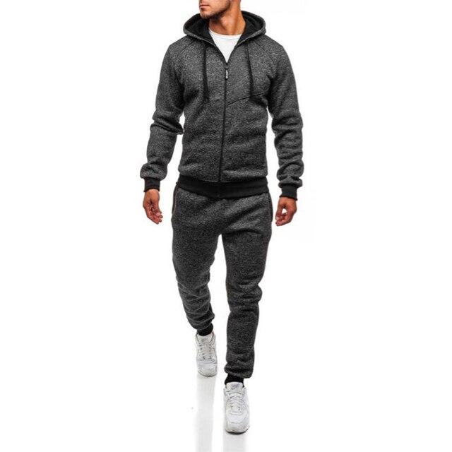 e13e6a9c6ea48 Chándal para hombres Set de 2 piezas nueva chaqueta de moda ropa deportiva  hombres chándal Sudadera ...