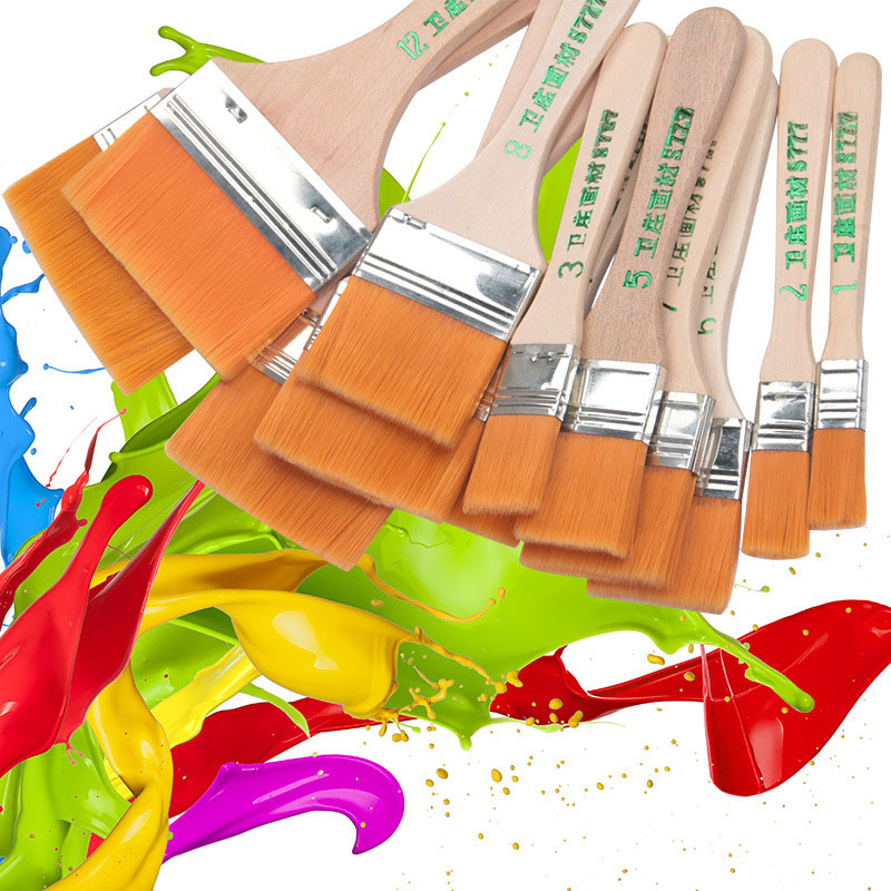 Высококачественная нейлоновая кисть для рисования различных размеров, акварельные кисти с деревянной ручкой для акриловой масляной краски, школьные принадлежности для искусства 4