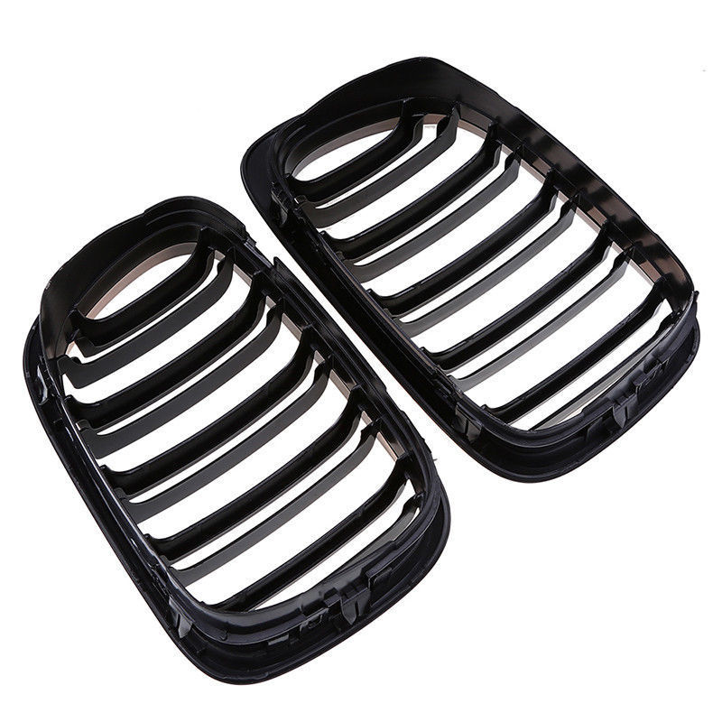 1 Pair 2 Door 2D Gloss Black Dual Slat Kidney Grille Grill accessories parts suitable For BMW E46 1998 2001