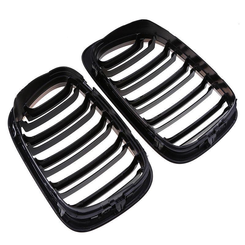 1 paire 2 portes 2D noir brillant double latte rein Grille accessoires pièces adaptées pour BMW E46 1998-2001