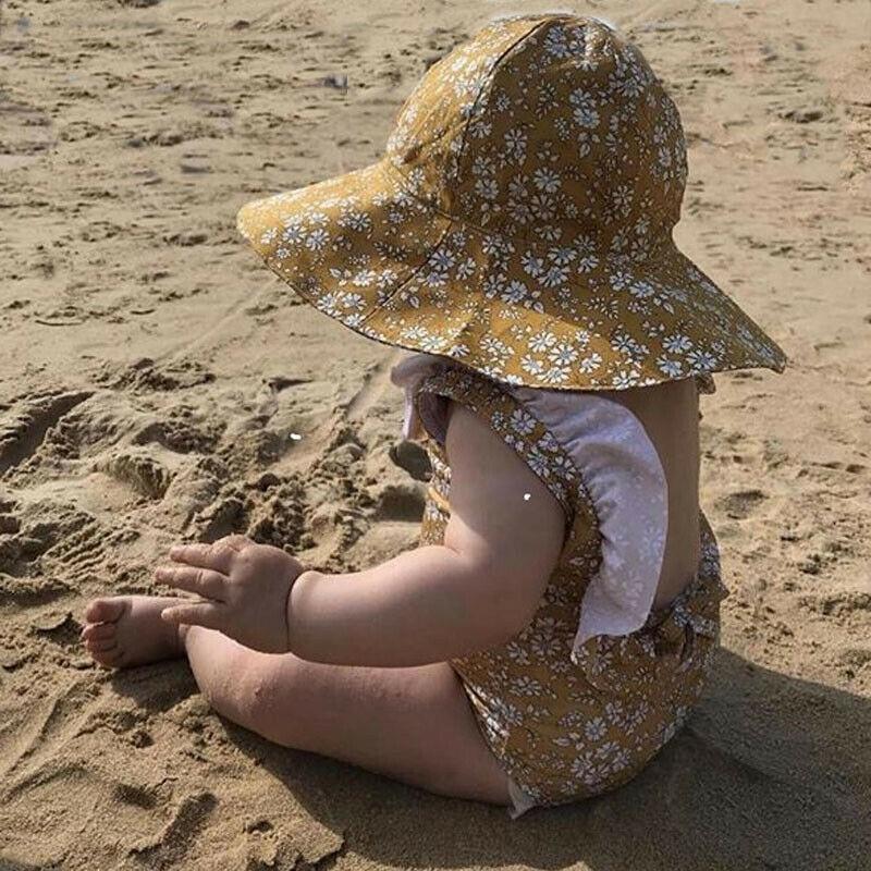 Бикини для маленькой девочки комплект дети девочки без рукавов оборки Желтый Цветочный купальник Цельный купальник купальный костюм