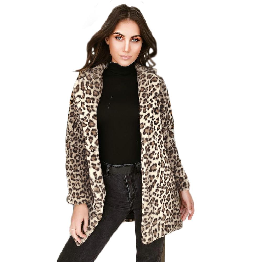 Womens Faux Fur Leopard Winter Warm Long Outerwear Size Plus Soft Ladies Parka Faux Fur Leopard Jacket Coat Fashion Slim Furs