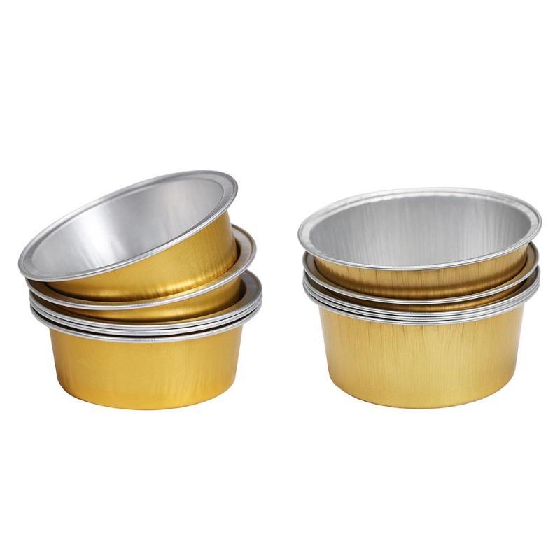 5/10 Gold Round Shape Melting Wax Bowl Aluminum Foil Hair Removal Bean Depilatory Cream Bowl For Hot Film Hard Waxing Pellet