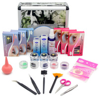 Stars Color Professional Individual Faux Eyelash Extension Kits Mink Eyelashes Grafting Training Kit Glue Cleanser Tweezer Cilia