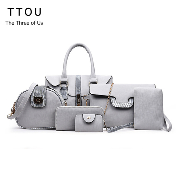aa3376cbc5ee TTOU 6 шт. комплект аллигатора Роскошные для женщин сумка панелями Змеиный  питон бренд женский повседневное женская сумка-ТОТЕ