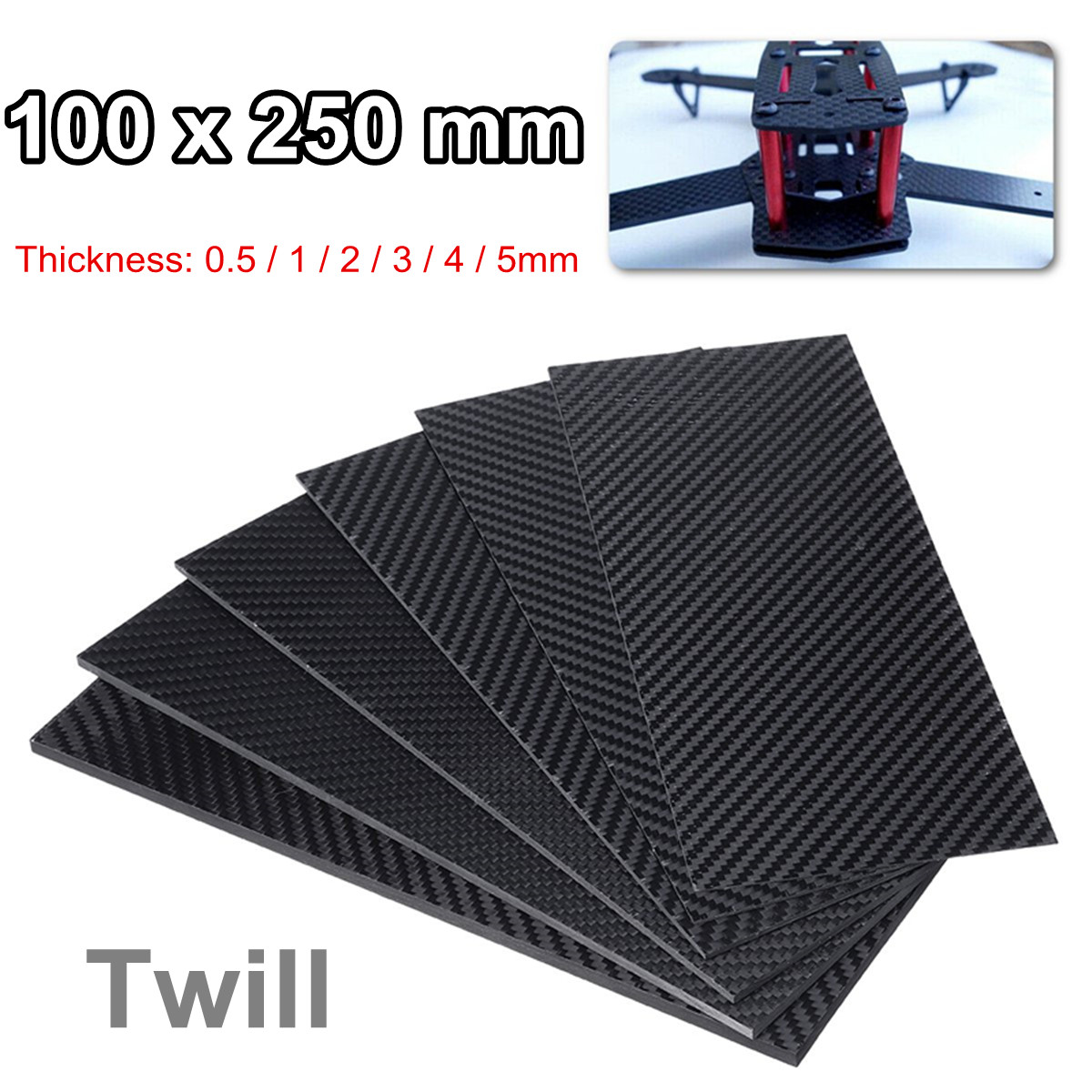 100X250 Mm 0.5-5MM 3K Matte Surface Twill Carbon Plate Panel Sheets High Composite Hardness Material Anti-UV Carbon Fiber Board
