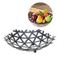1 PC Durable Fruit Container European Style Basket Iron Fresh Basket Vegetable Rack Storage Dish Holder For Home Kitchen (Black)