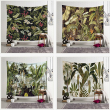 Tropical Leaves Printed Wall Tapestry Macrame Wall Hanging Wall Cloth Tapestries Boho Decor Dorm Living Room Background Blanket