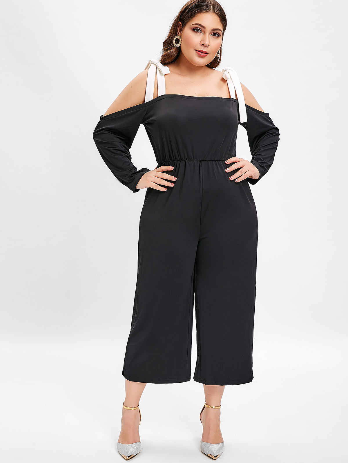 Wipalo Women Plus Size Open Shoulder Bow Tie Jumpsuit Long Sleeves Wide Legs Casual Solid Jumpsuit Spring Summer Ladies Romper