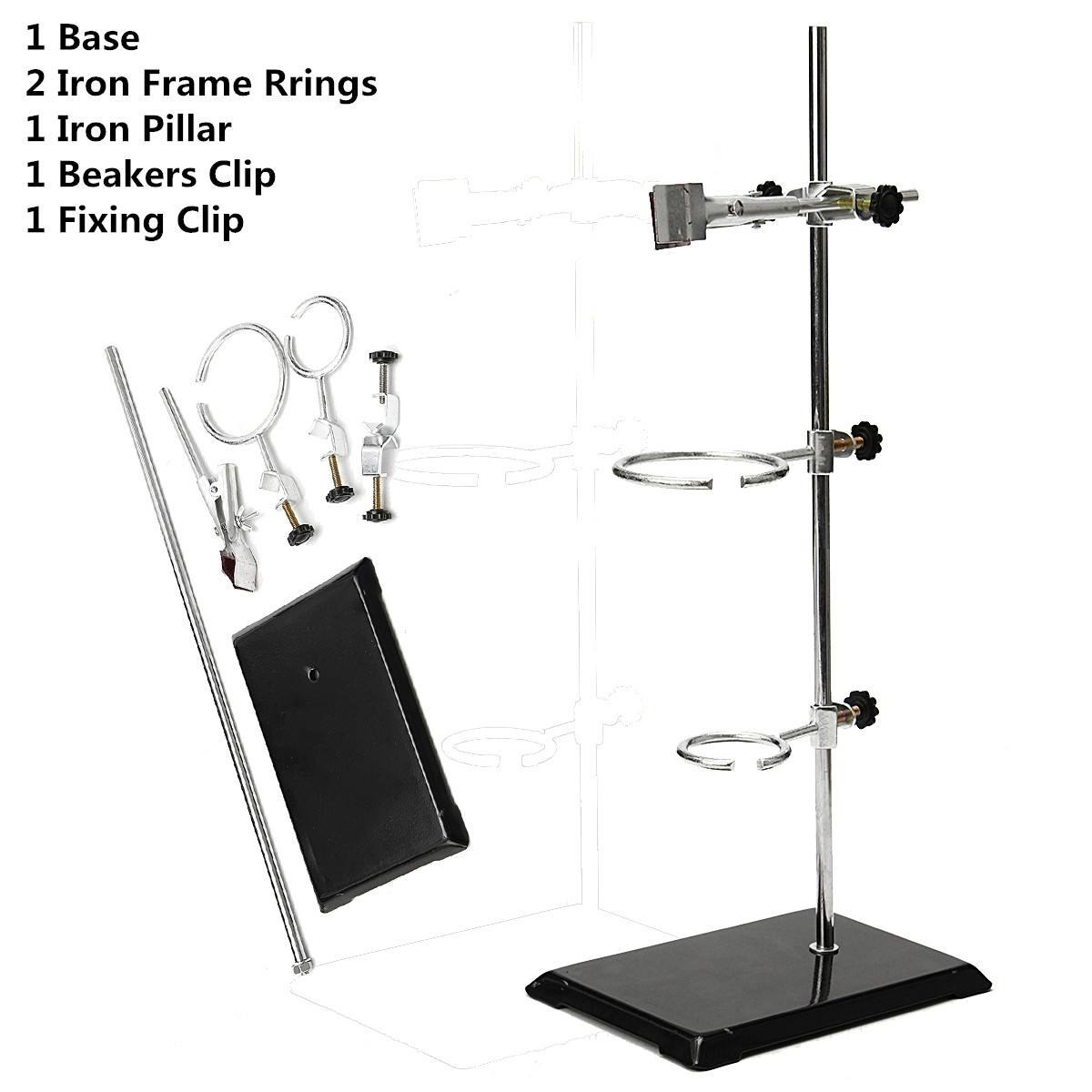 52CM Lab Laboratory Retort Stands Support Clamp Flask Platform Set For Flask Alcohol Bottle Test Tube School Laboratory Supply three prong extension lab flask clamp beaker clamp multifunction laboratory clamp chemistry lab stand for cylindrical glass tube