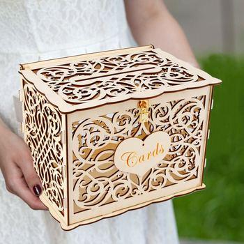 DIY Düğün Hediye Kartı Kutusu Ahşap Para Kutusu Kilit ile Güzel Düğün Dekorasyon Malzemeleri Doğum Günü Partisi Için Yeni 30x24x21 cm