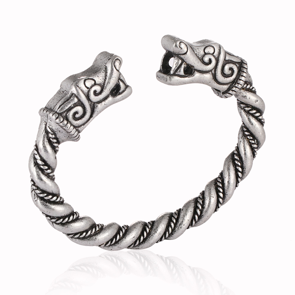Handmade Norse Viking Wolf Bangles Bracelets Chunky Twisted Silver Bangle for Men Jewelry Bracelet Arm Rings bracelet