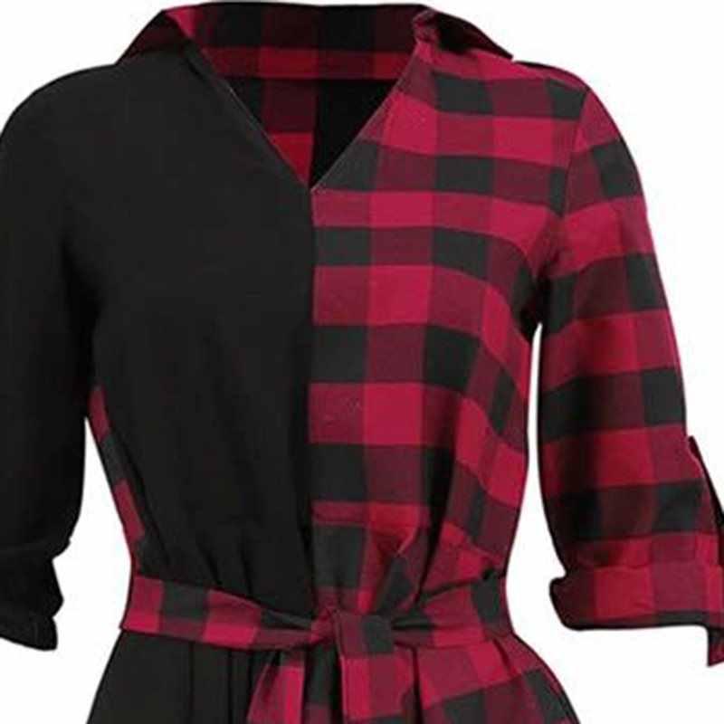 Готическая Черная уличная одежда большого размера красная женская рубашка Платья повседневные сексуальные Клубные летние клетчатые Асимметричные готические женские модные платья