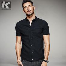 KUEGOU New Summer Mens Casual Shirts 100% Cotton Black Color Brand Clothing Man's Short Sleeve Clothes Male Slim Fit Tops 0805