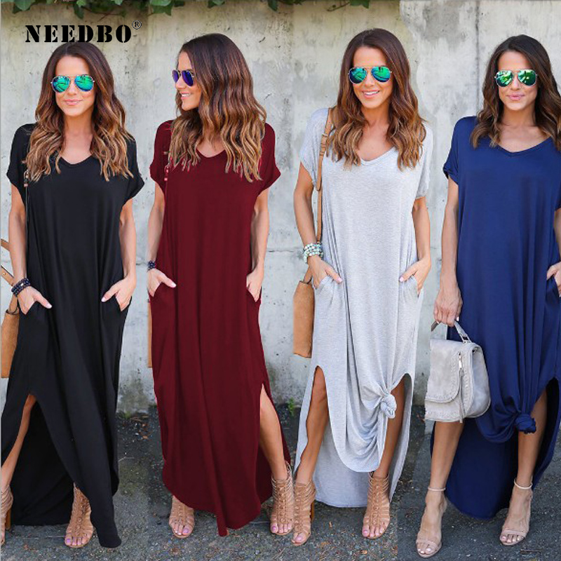 NEEDBO Mulheres Vestido Plus Size Verão 2019 Sólidos Casual Vestido Longo Maxi Vestido Para As Mulheres Vestido Longo Lady Frete Grátis vestidos