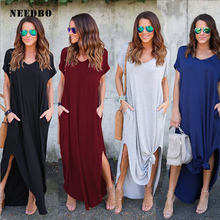 NEEDBO Women Dress Plus Size Summer 2019 Solid Casual Short Sleeve Maxi Dress For Women Long Dress Free Shipping Lady Dresses