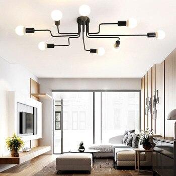 E27 תקרת אורות 8 ראשי בציר מרובה מוט כיפת לילה מנורת יצוק ברזל הנורה לסלון בית גופי תאורה