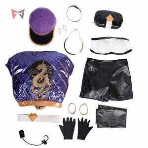 Image 4 - KDA Akali Cosplay kostüm LOL oyun KDA kadın kıyafeti ceket pantolon eldiven çantası maskesi peruk şapka küpe büyük seti özel yapılmış boyut