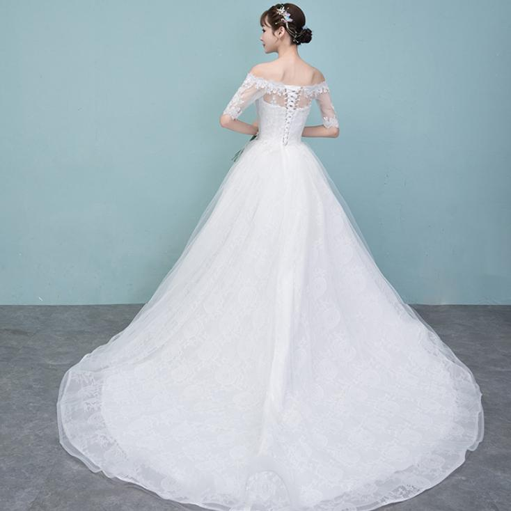 VENSANAC Lace Appliques Boat Neck High Low Wedding Dresses Illusion Half Sleeve Court Train Backless Bridal Gowns in Wedding Dresses from Weddings Events