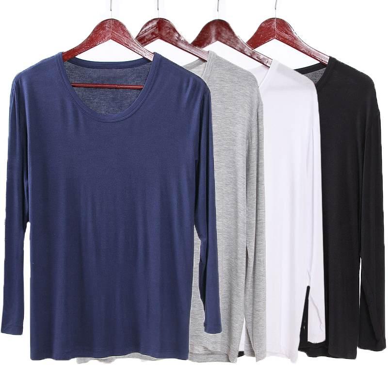 Modal Men T Shirt Crew Neck Long Sleeve Soft Tee Tops Men Casual Comfy Solid Slim Fit T-shirt Men Clothes Undershirt Hombre 3XL