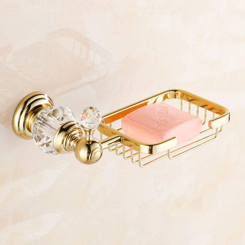 Soap Dishes Brass Gold Soap Basket Wall Mounted Crystal Soap Holder Black Bathroom Accessories Home Decoration Soap Box