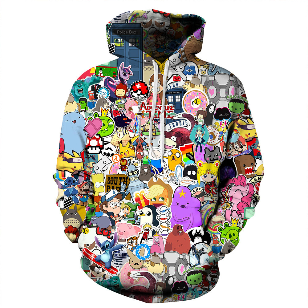 Adventure Time Totoro Print Hoodies Men Hoodie with Hat Round Neck Loose Sweatshirt Pullover Sudaderas Para Hombre Streetwear