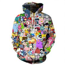 Przygoda czas Totoro bluzy z kapturem z nadrukami mężczyźni bluza z kapturem z kapeluszem wokół szyi luźna bluza sweter Sudaderas Para Hombre Streetwear tanie tanio Pełna STANDARD Brak REGULAR Na co dzień Poliester Elastan Drukuj NONE Luźne QYDM074