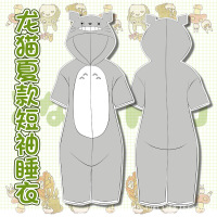 shorts Women's pajamas Totoro Adult Couple of Pajamas From Animated Cartoons With Kawaii Hooded Hot sell Wrap Short Sleepwear
