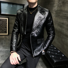 2019 Spring Handsome Leisure Zipper Faux Leather Jackets Men Clothing Turn Down Collar Imitation Alligator Loose Male Coat
