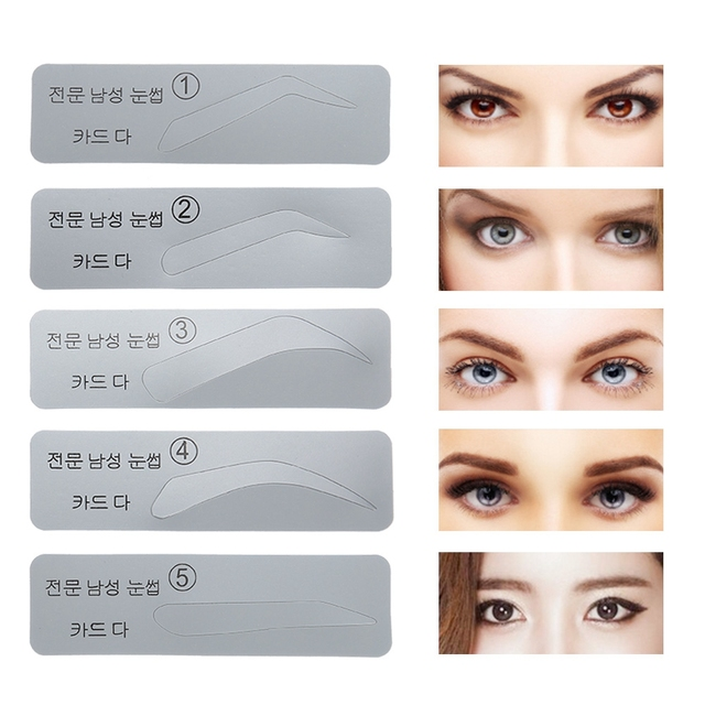 brand new 5pcs plastic eyebrow template shaper DIY eyebrow sticker makeup models eyebrow molding stencils eyebrows shaping tools 2