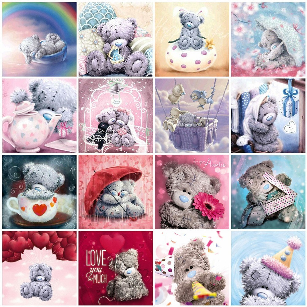 Huacan Diamond Embroidery Bear Paintings From Crystals Painting Full Square Cartoon Rhinestone Mosaic Decoration