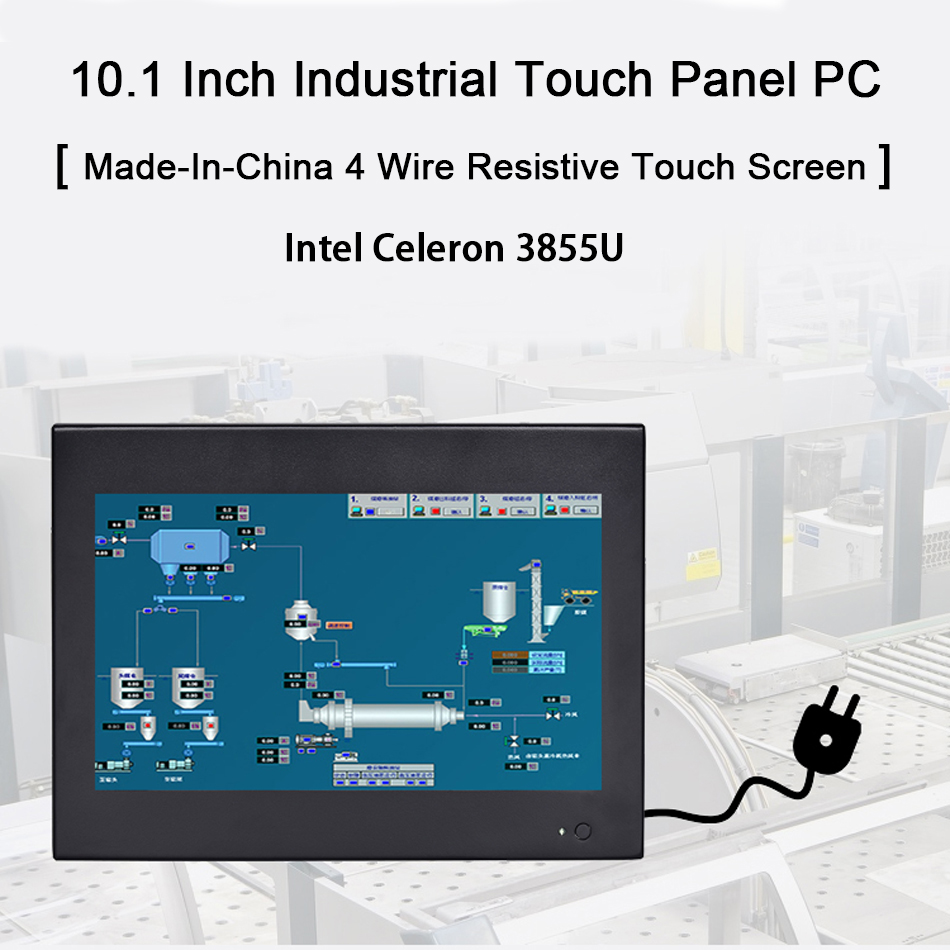 10.1 Inch Industrial Touch Panel PC,4 Wires Resistive Touch Screen,Intel Celeron 3855U,Windows 7/10,Linux,[HUNSN DA13W]